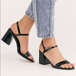 Free People Liv Block Heel Sandal Black Faux 9.5